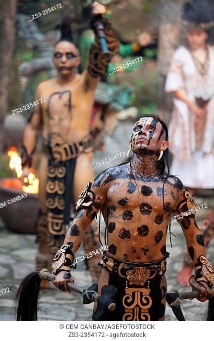 Dancers performing a representative shaman ceremony of the Pre-Hispanic Mayan Culture, Xcaret, Playa Del Carmen, Riviera Maya, Yucatan Province, Mexico