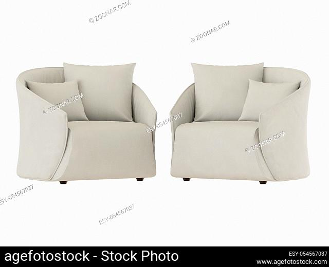 Two light soft armchairs with two pillows on a white background 3d rendering