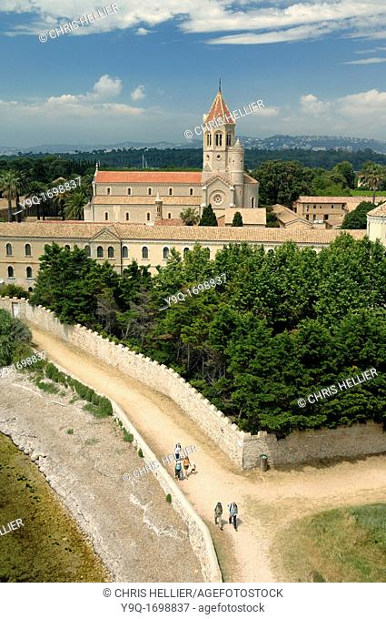 View over Lérins Abbey or Cistercian Monastery Île Saint Honorat Island one of Lérins Islands Cannes France