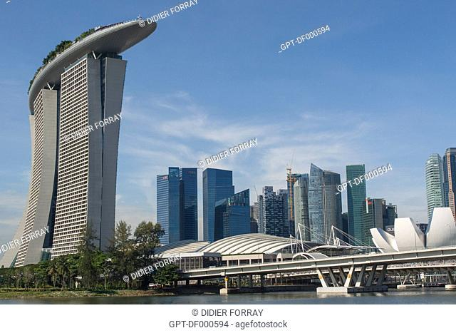 VIEW OF THE HOTEL MARINA BAY SANDS AND THE OFFICE BUILDINGS IN THE FINANCIAL DISTRICT, CENTRAL BUSINESS DISTRICT, MARINA BAY, SINGAPORE