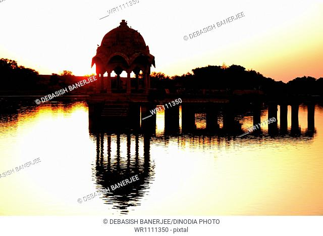 Sun rise at gadisar lake at jaisalmer