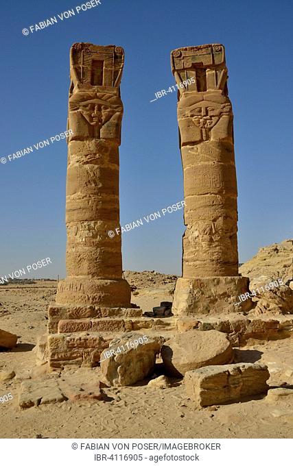 Columns, Temple of Hathor, Gebel Barkal, Karima, Northern state, Nubia, Sudan