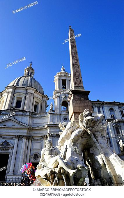 Rome, Italy  Piazza Navona  Fountain of the four rivers designed by Bernini for Pope Innocent X
