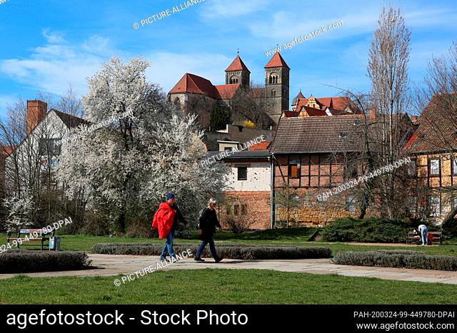 18 March 2020, Saxony-Anhalt, Quedlinburg: Walkers go for a walk in a park. In the background is the Quedlinburg collegiate church