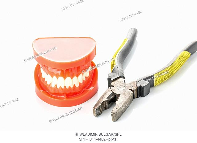 False teeth and a pair of pliers
