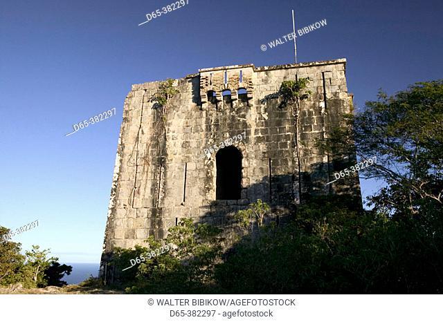 French West Indies (FWI), Guadeloupe, Les-Saintes Islands, Terre-de-Haut: Lookout Tower atop Le Chameau Peak (309 meters), Sunset