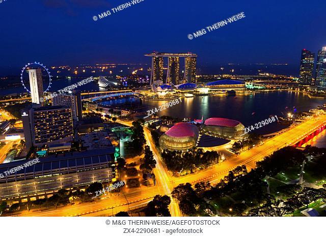 Marina Bay at night, Singapore, Asia