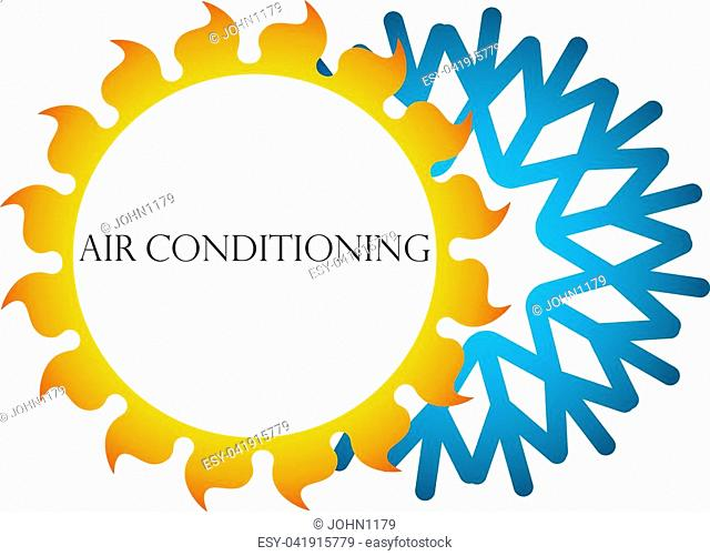 Sun and snowflake air conditioning symbol for business