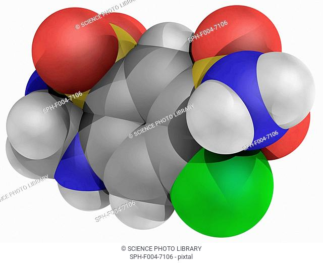 Hydrochlorothiazide, molecular model. Diuretic drug of the thiazide class and acting by inhibiting the kidney's ability to retain water