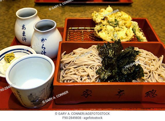 Kakiage tempura shrimp, vegetable mix fried and morisoba noodles served at restaurant in Ikegami, Tokyo. Japan