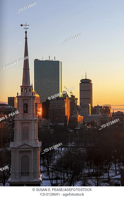 Park Street Church steeple and skyscrapers at sunset, Boston, Massachusetts, United States