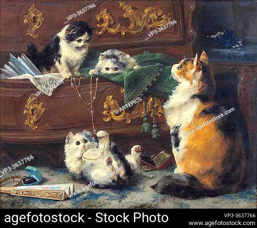 Eycken II Charles Van Den - a Cat with Her Kittens - Belgian School - 19th Century