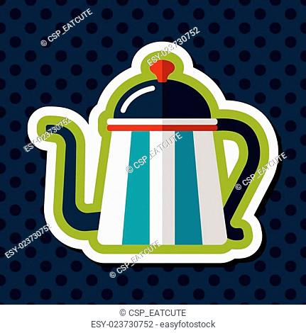 coffee kettle flat icon with long shadow