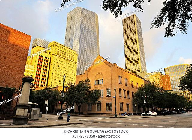 Magnolia Hotel (on left), downtown Houston, Texas, United States of America, North America