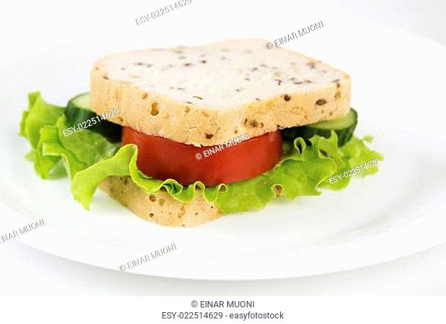 Sandwich with vegetables will satisfy hungry stomach