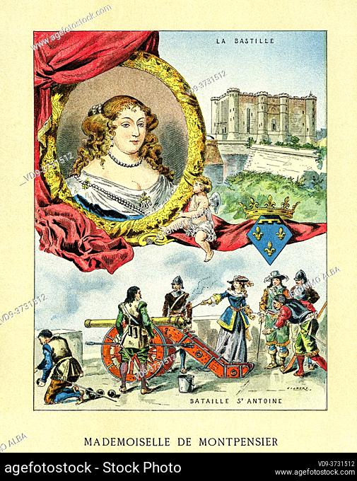 Old color lithography portrait of Anne Marie Louise d'Orleans, Grande Mademoiselle (1627-1693) Duchess of Montpensier, Dauphin of Auvergne