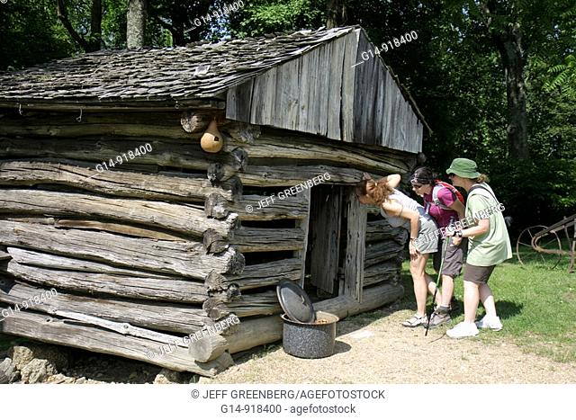 Virginia, Appalachian Mountains, Blue Ridge Parkway, All-American Road, National Scenic Byway, Peaks of Otter, Johnson Farm, farmstead, 19th Century, woman