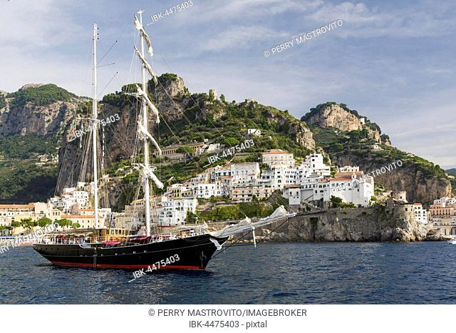 Tall ship at anchor in front of Amalfi, Amalfi coast, Salerno, Campania, Italy