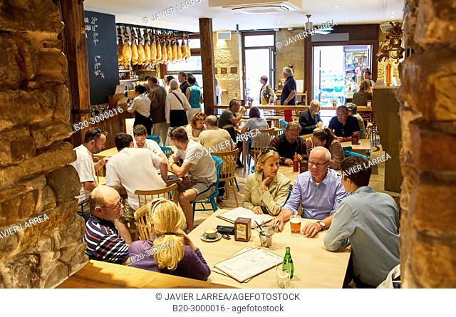 Dining room, Tables to eat, Bar Restaurante Portaletas, Parte Vieja, Old Town, Donostia, San Sebastian, Gipuzkoa, Basque Country, Spain
