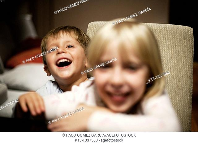 Brother laughing