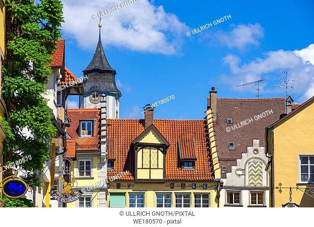 Historical housetops and steeple of the Minster of Our Lady in the Old Town of Lindau, Bavaria, Germany, Europe