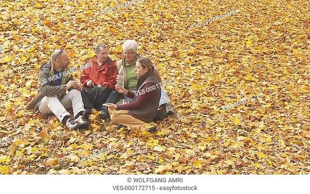 Menschen sitzen im Laub, Herbst