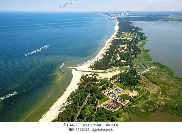 Long sandy beach in Uniescie, right Jamno Lake, The Baltic Coast, West Pomerania Province, Poland