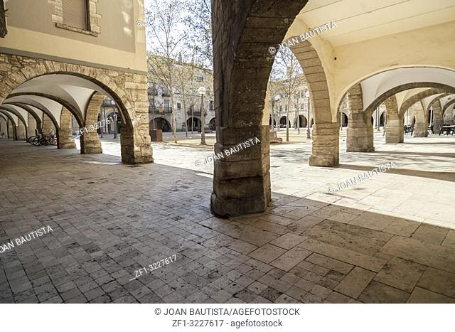Archs in main square of Banyoles,Catalonia,Spain