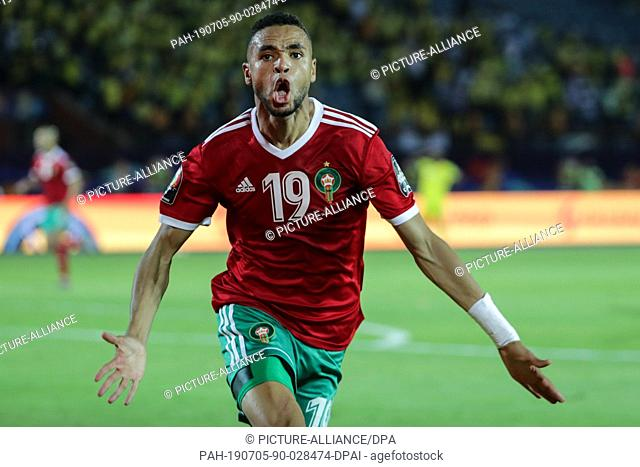 05 July 2019, Egypt, Cairo: Benin's Morocco's Youssef En-Nesyri celebrates scoring his side's first goal during the 2019 Africa Cup of Nations round of 16...