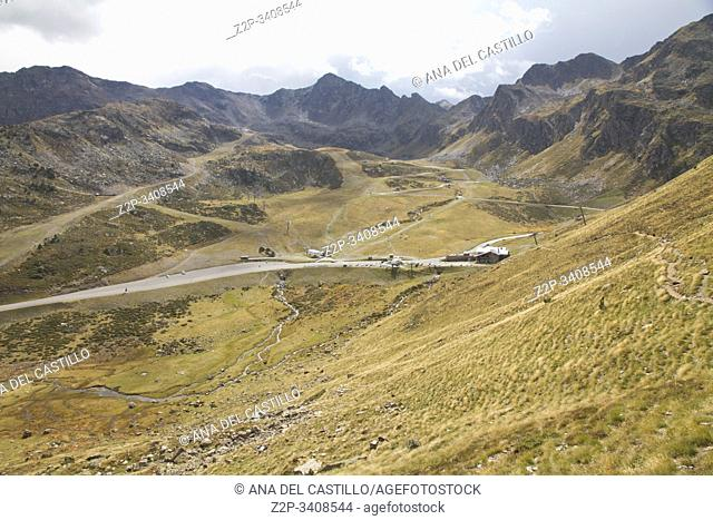 Panorama from the access to Tristaina high mountain lakes in Pyrenees. Andorra