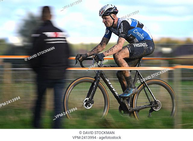 Belgian Tim Merlier pictured in action during the men's race at the first stage of the Superprestige cyclocross cycling competition, in Gieten, Netherlands