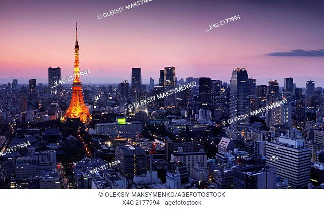 Aerial Tokyo city view with Tokyo tower illuminated in twilight panoramic scenery. Minato, Tokyo, Japan