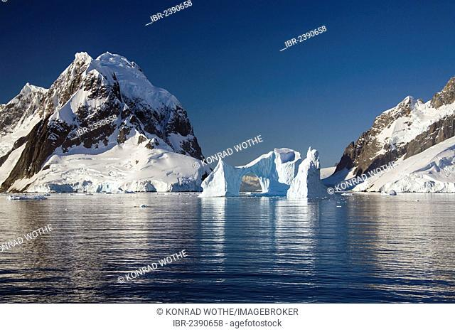 Archway iceberg in Lemaire Channel, Antarctic Peninsula, Antarctica