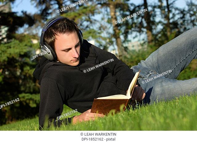 Listening to music and reading a book
