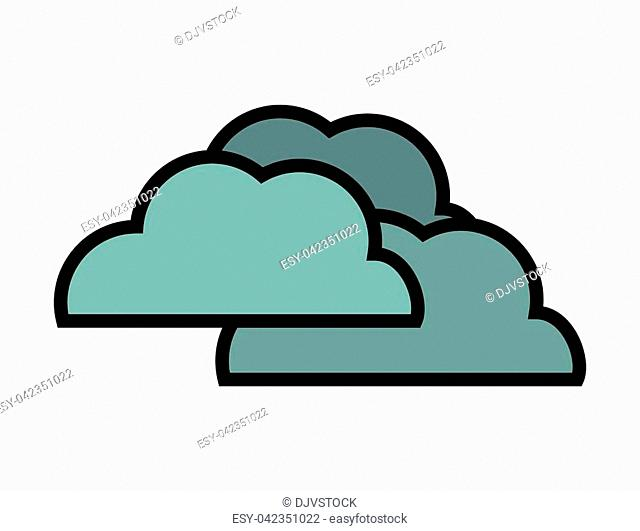 Weather representated by simple cloud shape design over isolated and flat illustration