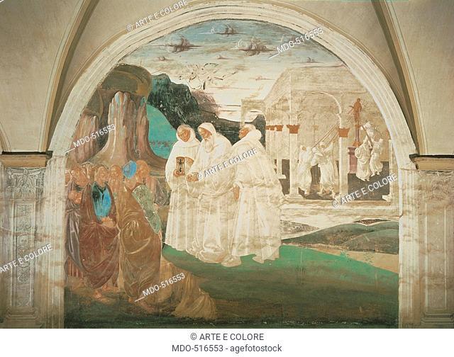 Benedict Evangelizing the Inhabitants of Montecassino, by Signorelli Luca, 1497 - 1498, 15th Century, fresco. Italy, Tuscany, Chiusure, Siena