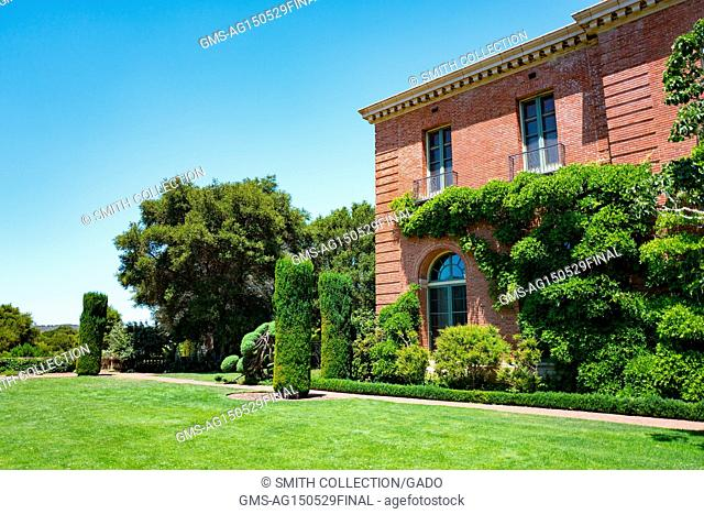 Main house, built in a California Eclectic architectural style, with terrace at Filoli, a preserved country house, formal garden and estate operated by the...