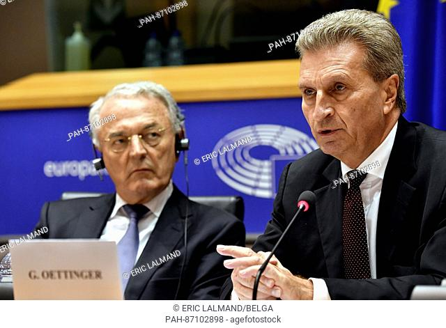 Guenther Oettinger, European Commissioner for the Budget and Human Resources (r), participates in the first hearing in his new position at the European...
