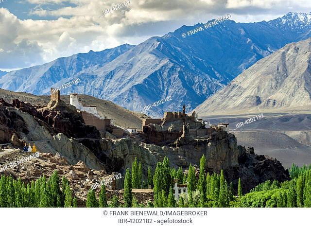 The ruins of Matho Fort and Matho Gompa are located on a hill above the Indus Valley, high mountains in the distance, Matho, Jammu and Kashmir, India