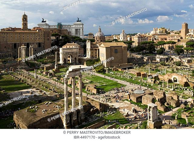 Top view of Roman Forum ruins with Temple of Vesta, Temple of Castor and Pollux, Basilica Aemilia, Curia, Arch of Septimius, Temple of Concord
