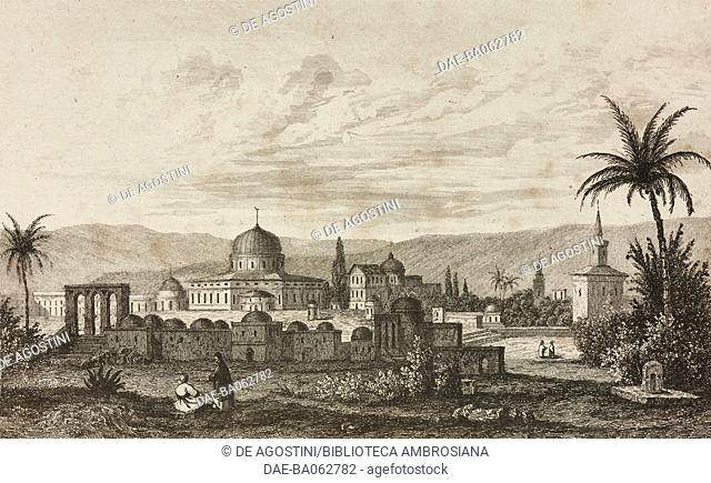 Mosque of Omar in Jerusalem, Israel, engraving by Lemaitre and Venderburch from Arabie, by Noel Desvergers, avec une carte de l'Arabie et note by Jomard