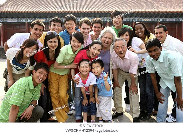 People from different countries getting together in the Forbidden City, China