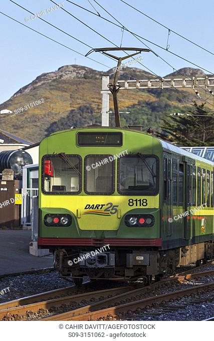 The Irish DART (Dublin Area Rapid Transit) Train at Bray Station, Co. Wicklow, Ireland