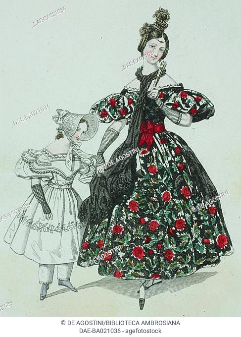 Woman wearing a floral dress, short-puffed sleeves, black scarf and braided hair with young girl wearing a white dress and bonnet tied at the front, plate 43