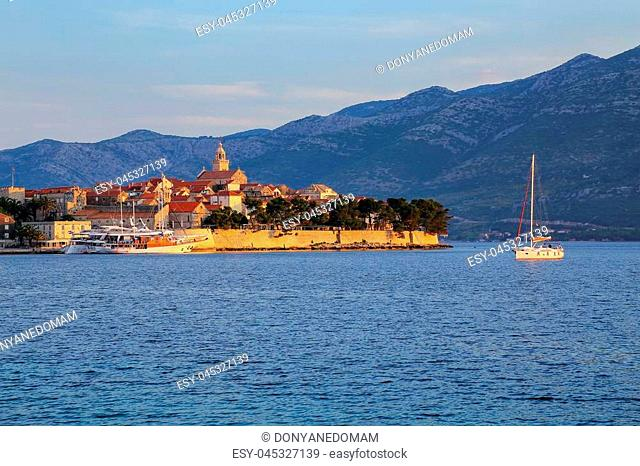 Korcula old town in early morning light, Croatia. Korcula is a historic fortified town on the protected east coast of the island of Korcula