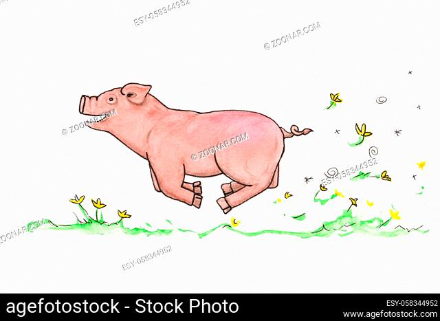 A watercolor illustration of a funny piggy having joy of life