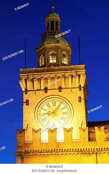 Clock Tower on Piazza Maggiore in Bologna. Bologna, Emilia-Romagna, Italy