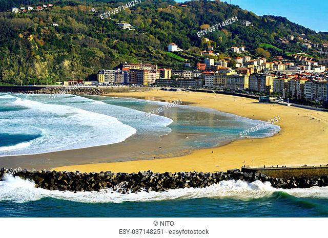 Zurriola Beach and Urumea River mouth in San Sebastian, Spain