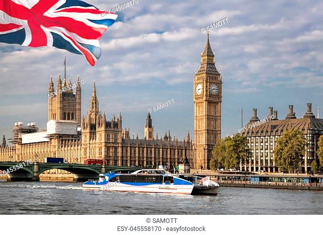 Big Ben with boat in London, England, UK