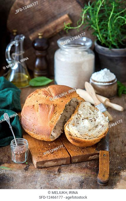 Flax seed home baked bread
